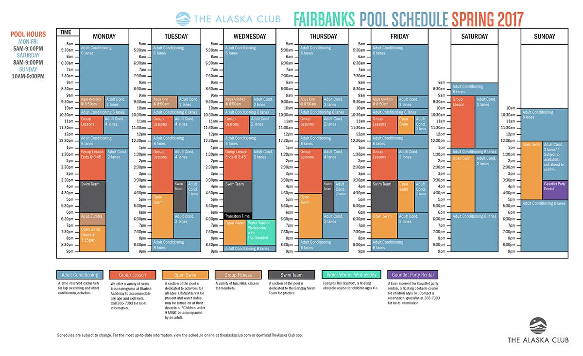 Fairbanks South Pool Schedule Spring 2017