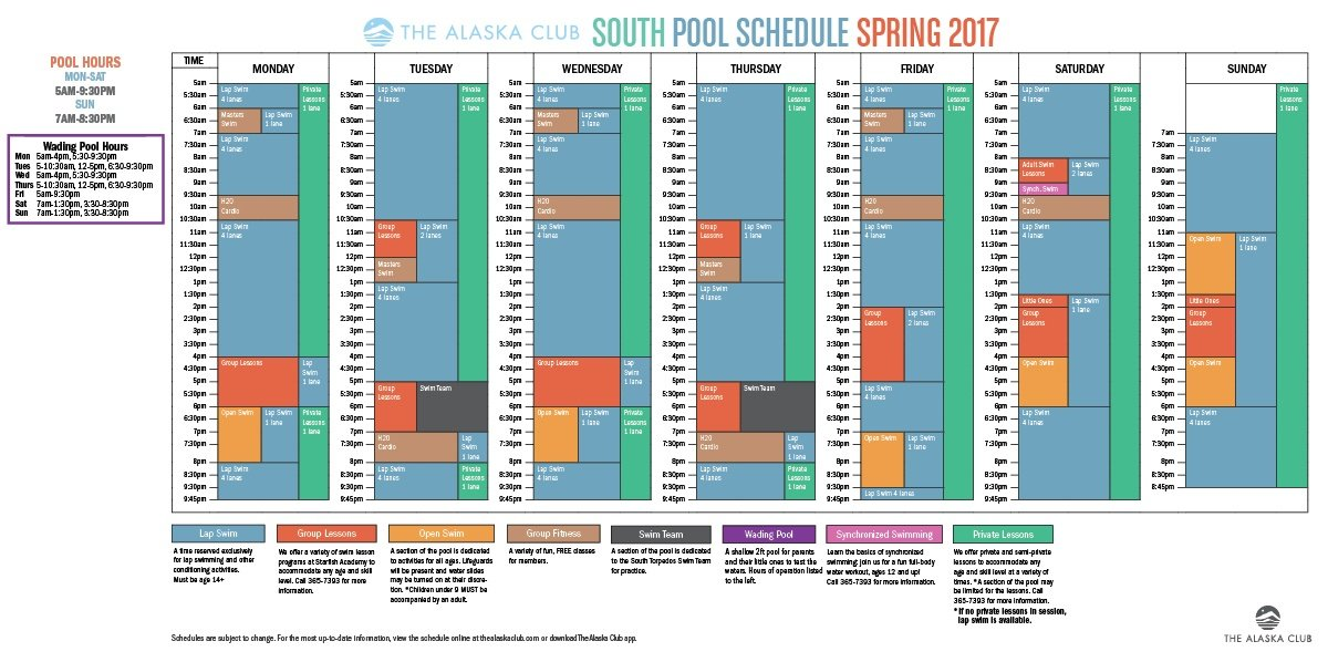 South Pool Schedule Spring 2017