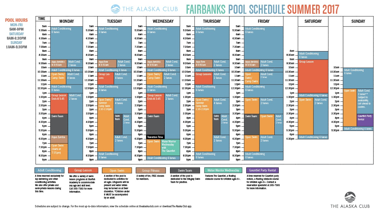 Fairbanks South Pool Schedule Summer 2017