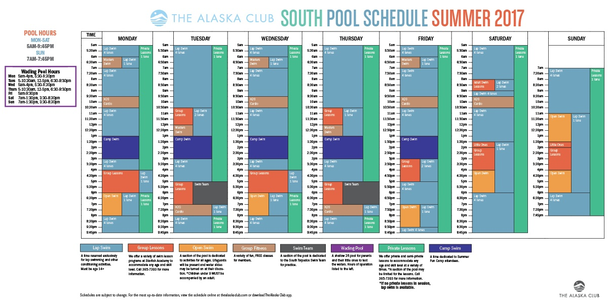 South Pool Schedule Summer 2017