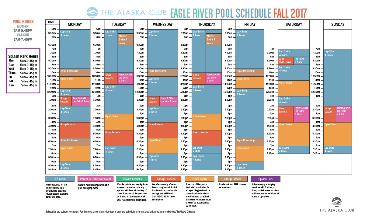 Fall 2017 Pool Schedule