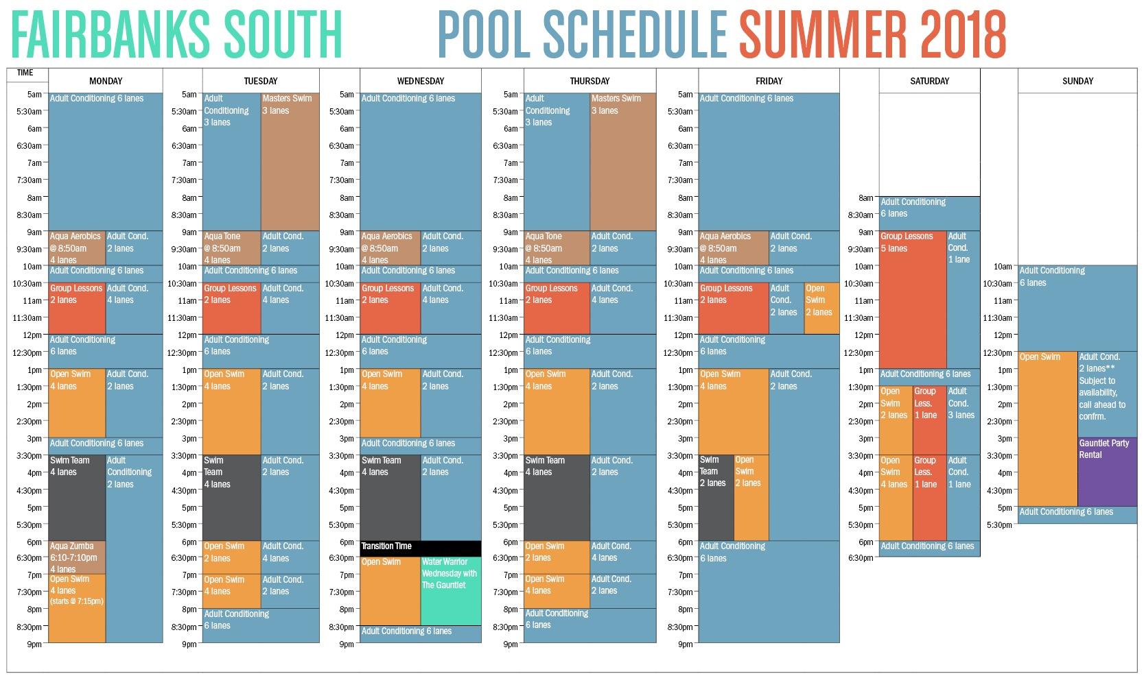 2018 Winter Spring Fairbanks Pool Schedule