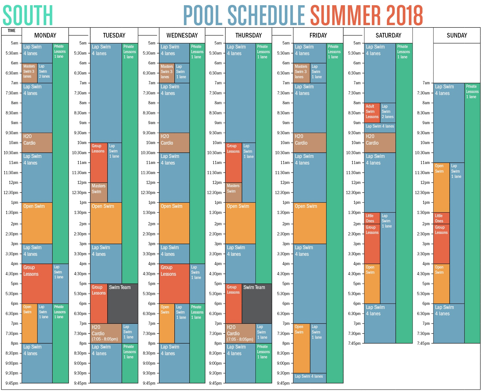 Winter 2018 Pool Schedule