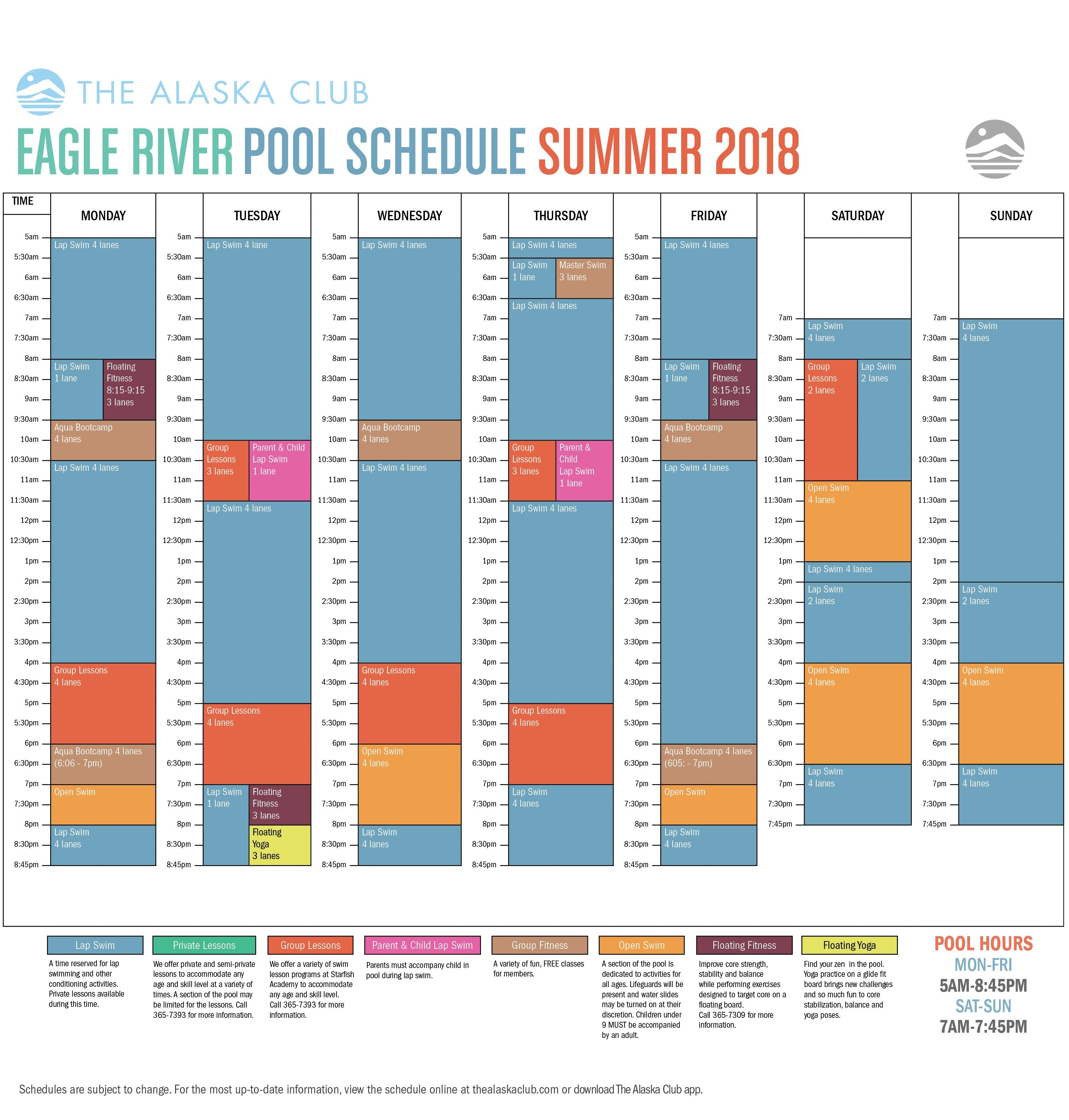 Summer 2018 Eagle River Pool Schedule