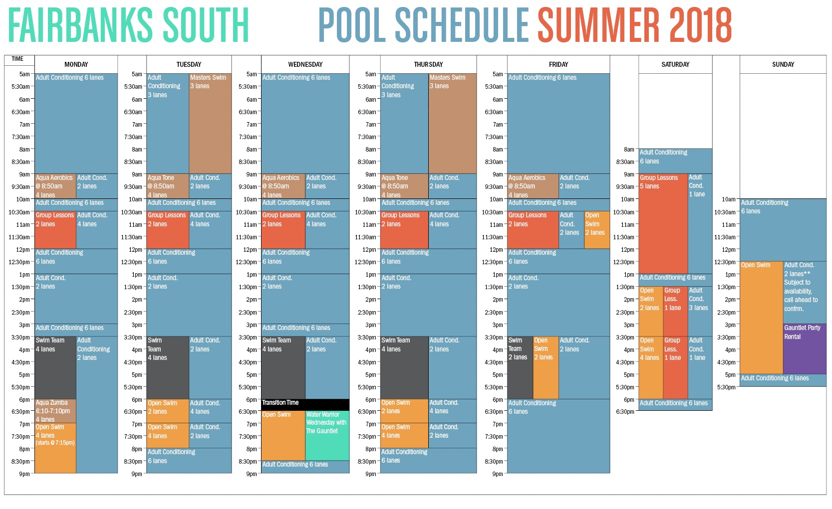 2018 Summer Fairbanks Pool Schedule