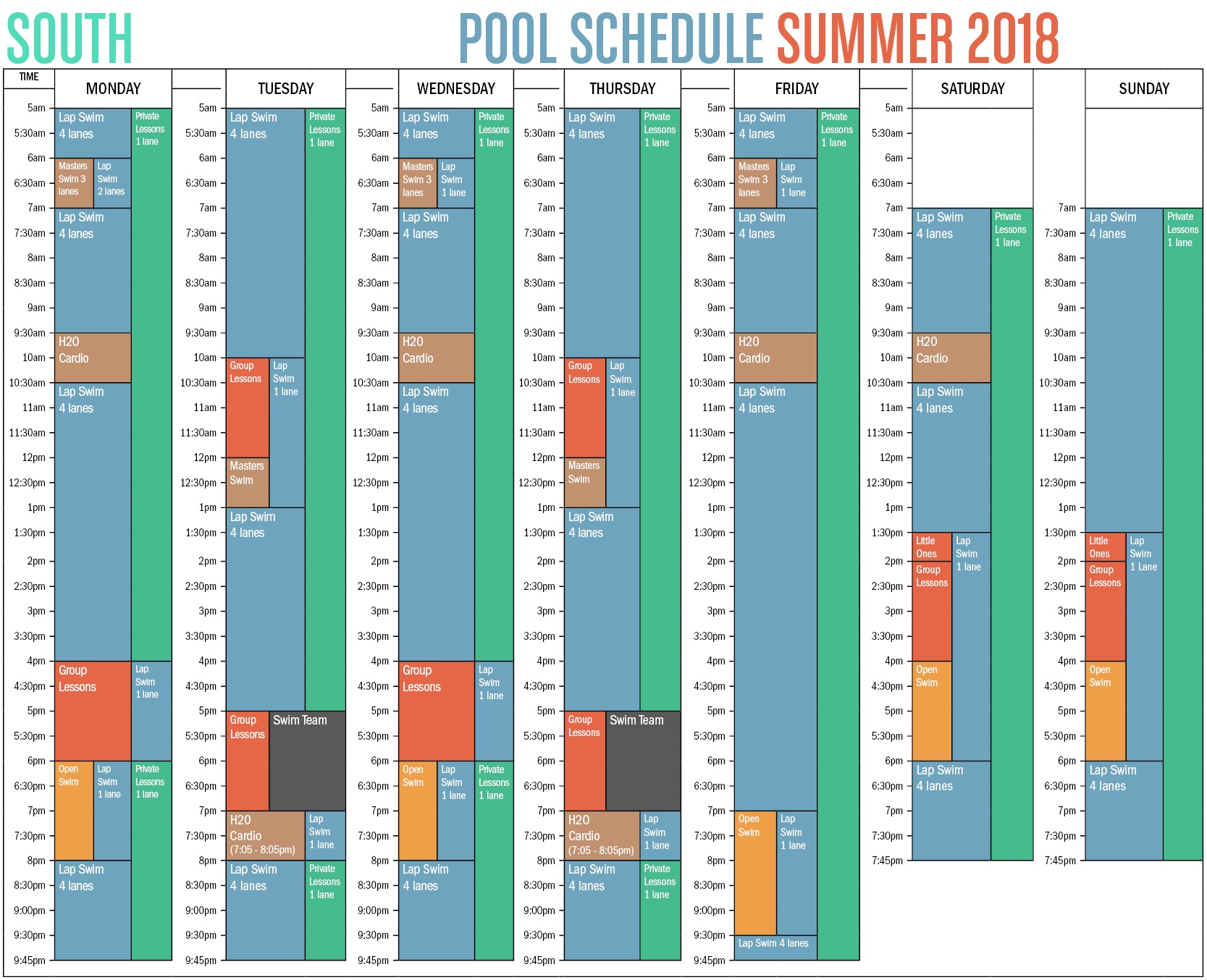South Summer Pool Schedule