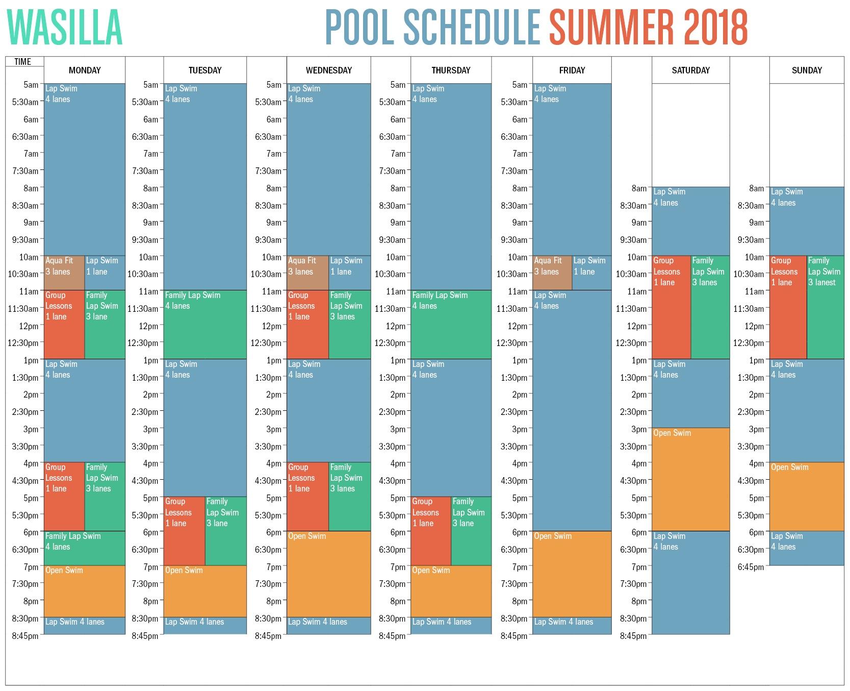2018 Wasilla Pool Schedule