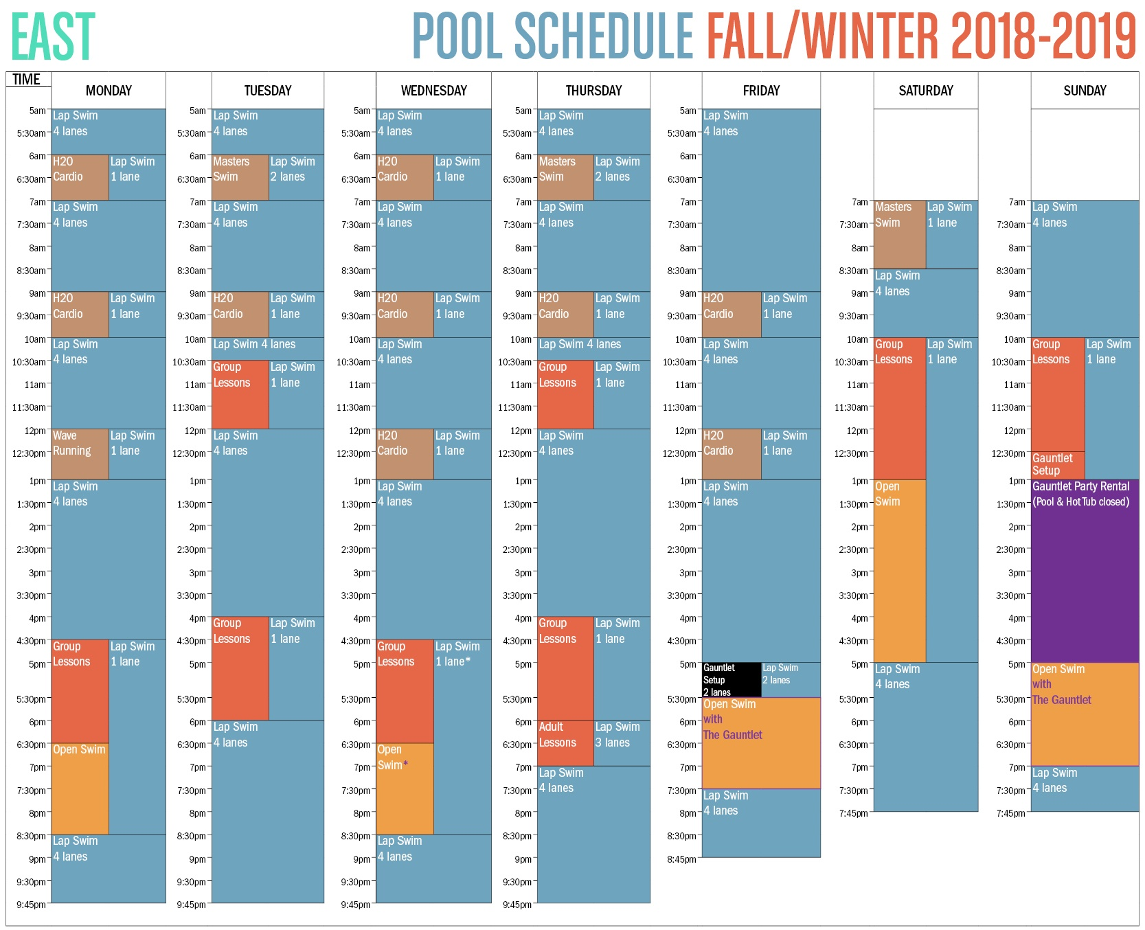 2018 East Anchorage Pool Schedule