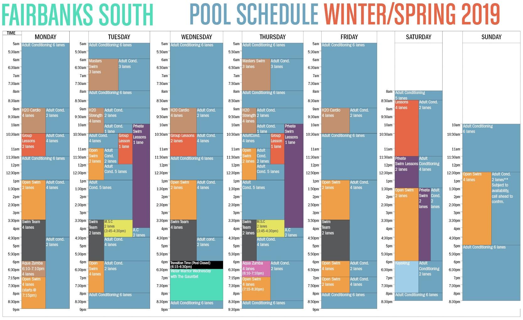 2018 Fall/Winter Fairbanks Pool Schedule