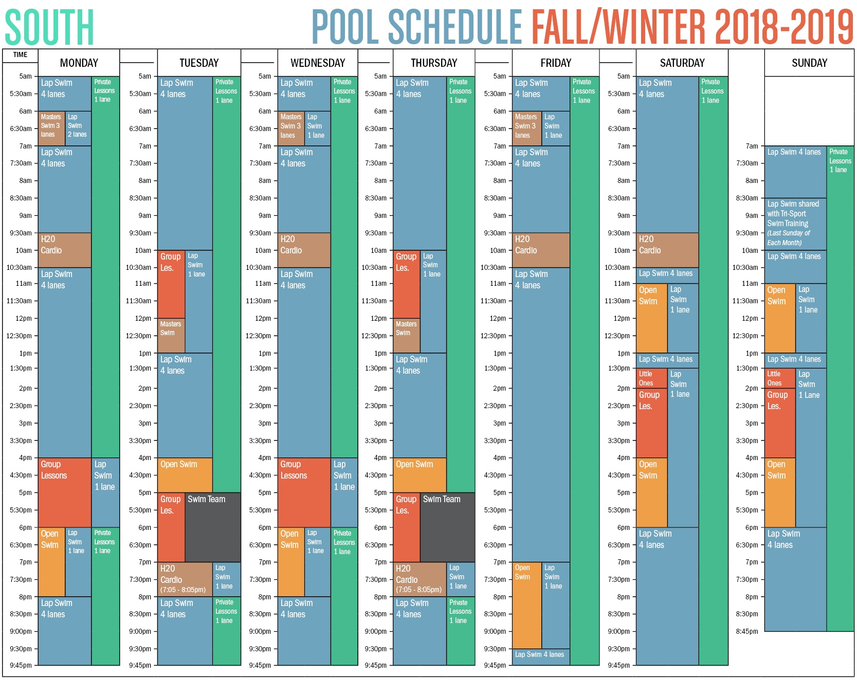 2018 South Anchorage Pool Schedule