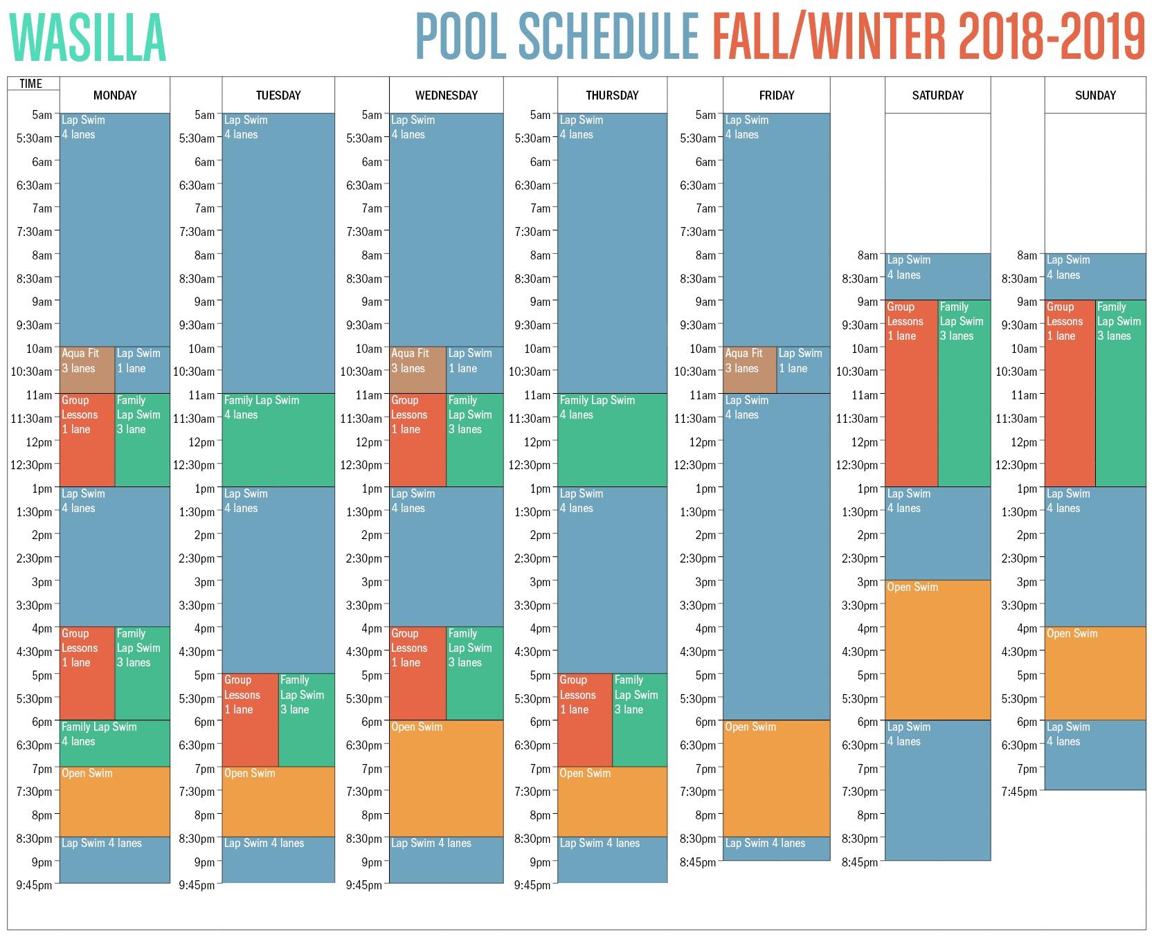 Wasilla 2018 Fall/Winter Pool Schedule